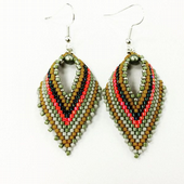 Russian Leaf Earring Beadwork Kit with MIYUKI Delicas - Orange/Gold/Black